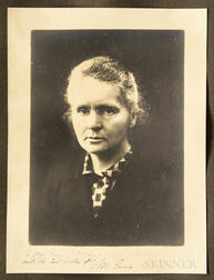Curie, Marie (1867-1934) Signed Photograph and Autograph Note Signed, 1921.