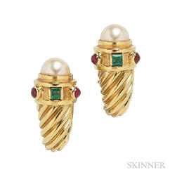 18kt Gold, Cultured Pearl, and Gem-set Earrings, David Yurman