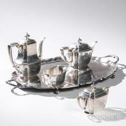 "Four-piece Tiffany & Co. ""Hampton"" Pattern Tea and Coffee Service with Matching Silver-plate Tray"