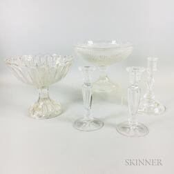 Two Colorless Glass Compotes and Three Candlesticks