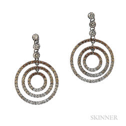 Blackened Gold, Colored Diamond, and Diamond Circle Earrings