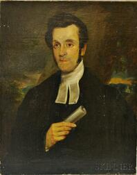 Anglo/American School, 19th Century       Portrait of a Man with Scroll.