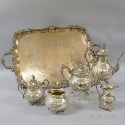 Five-piece Silver-plated Tea Set and Tray