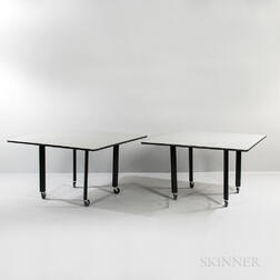 Two Knoll Joseph D'Urso Tables with Casters