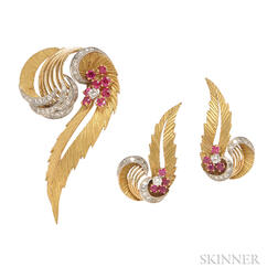18kt Gold, Ruby, and Diamond Feather Suite
