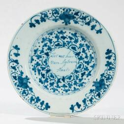 Dutch Delft Blue and White Motto Plate