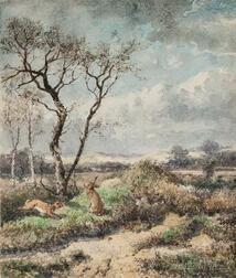 Johann Mari Henri ten Kate (Dutch, 1831-1910)    November Day  /Landscape with Rabbits and Hunter in the Distance