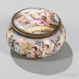 Polychrome Enamel Pillbox and Cover