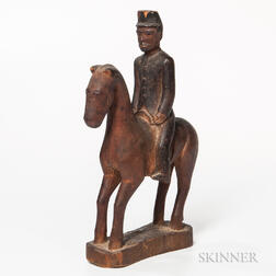 Carved and Painted Militia Soldier on Horseback