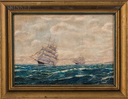 American School, 20th Century    Two Paintings of Sailing Ships
