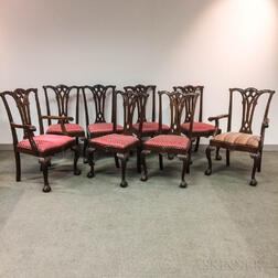 Set of Eight Chippendale-style Carved Mahogany Dining Chairs