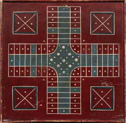 Painted Two-sided Parcheesi and Checkers Game Board
