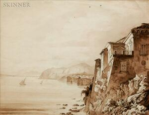 Lot of Six Drawings:    British School, 19th Century, Torquato Tasso's House at Sorrento