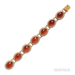 14kt Gold and Carnelian Bracelet