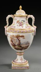 French Earthenware Two-handled Vase and Cover