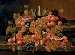 Attributed to Severin Roesen (German/American, 1815-1872)      Sumptuous Still Life with Fruit and Wine