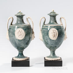 Pair of Wedgwood & Bentley Porphyry Vases and Covers
