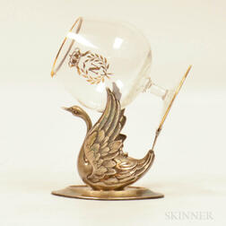 Pedro Duran Spanish Silver Swan-form Brandy Warmer, the spreadwing swan base marked Pedro Duran supporting a gilt colorless glass sni