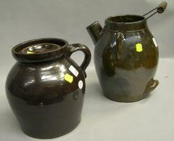 Two Brown Glazed Stoneware Jugs