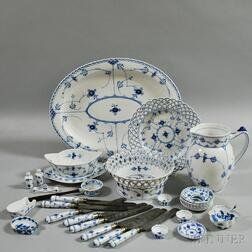 Thirty Pieces of Royal Copenhagen Blue and White Porcelain