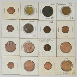 Group of Hard Times and Civil War Tokens