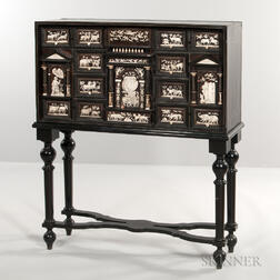 Baroque-style Ebony-veneered Inlaid Cabinet on Stand
