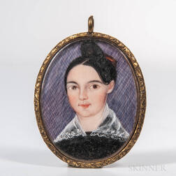 American School, Early 19th Century      Miniature Portrait of a Young Woman