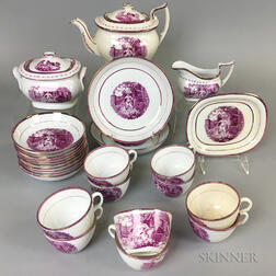 Pink Transfer-decorated Ceramic Tea Service for Ten