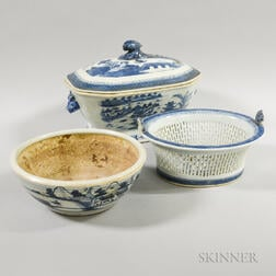 Canton Porcelain Basket, Bowl, and Covered Serving Dish