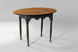 Black-painted Oval Scrub-top Tea Table