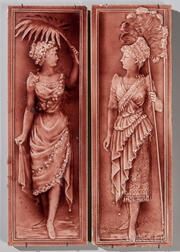 Two American Encaustic Tile Co. Art Pottery Panels of Women