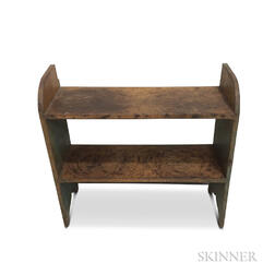 Blue-painted Pine Bucket Bench
