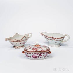 Two Export Porcelain Sauce Boats and a Small Covered Serving Dish