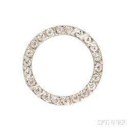 Art Deco Platinum and Diamond Circle Pin