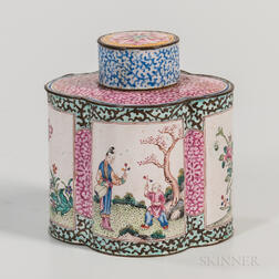 Canton Enamel Covered Tea Caddy