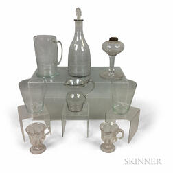 Eight Colorless Glass Tableware Items