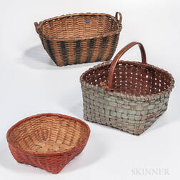 Three Painted or Paint-decorated Baskets