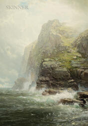 William Trost Richards (American, 1833-1905)      Cliffs of Cornwall