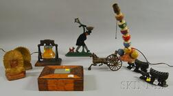 Nine Assorted Folk and Tramp Art Table Items