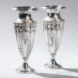 Pair of Bailey, Banks & Biddle Sterling Silver Vases