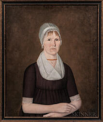 John Brewster Jr. (Connecticut/Maine, 1766-1854)      Portrait of a Woman in a White Cap with Gold Beads