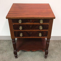 Mahogany Veneer Three-drawer Worktable