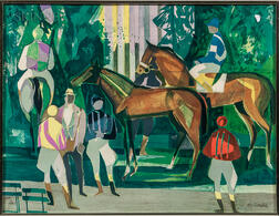 Camille Hilaire (French, 1916-2004)      Horses and Jockeys in the Paddock