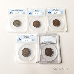 Five Draped Bust and Classic Head Half Cents