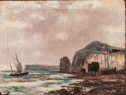 Claude Hulk (British, 19th Century)      Fishing Vessels by a Beach and Cliff