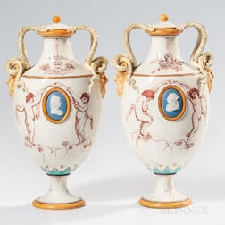 Pair of Wedgwood Emile Lessore Decorated Queen's Ware Vases and Covers