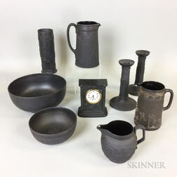 Nine Wedgwood Black Basalt Ceramic Items