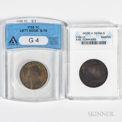 Two Flowing Hair Large Cents