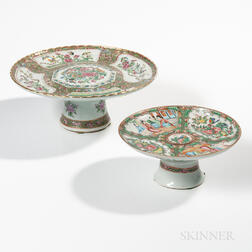 Two Rose Medallion Export Porcelain Cake Stands and a Small Bowl