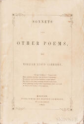 Garrison, William Lloyd (1805-1879) Sonnets and Other Poems.